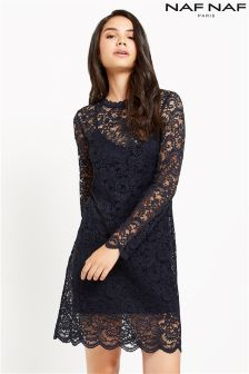 Naf Naf Lace Long Sleeve Dress