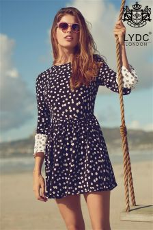 LYDC Contrast Bell Sleeve Ditsy Print Dress