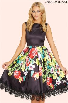 Sistaglam Floral Print Skater Dress