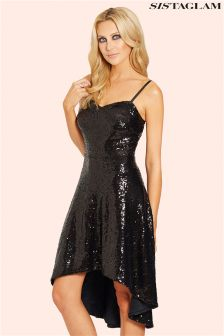 Sistaglam Sequin High Low Midi Dress