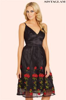 Sistaglam Embroidered Midi Dress