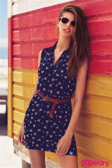 Superdry Floral Print Lace Trim Collar Dress