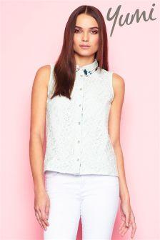 Yumi Floral Print Collar Lace Shirt