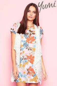 Yumi 70's Floral Print Shift Dress