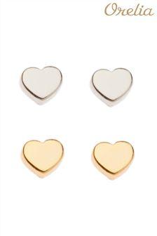 Orelia Tiny Heart Earring 2 Pack
