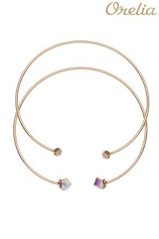 Orelia Swarovski Cube Open Bangle 2 Pack