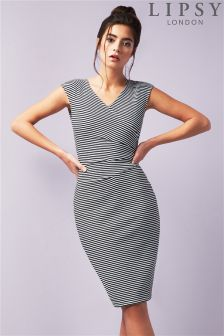 Lipsy Nautical Rib Wrap Dress
