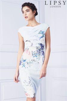Lipsy Print Pleated Shift Dress