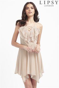 Lipsy Ruffle Lace Up Detail Dress