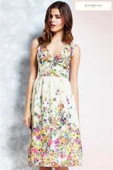 Uttam Boutique Cascading Floral Twisted Knot Dress