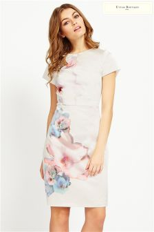 Uttam Boutique Cherry Blossom Placement Print Dress