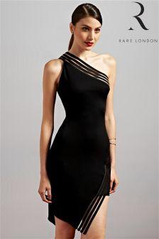 Rare Mesh Stripe One Shoulder Asymmetric Dress