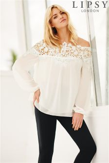 Lipsy Lace Trim Bardot Top