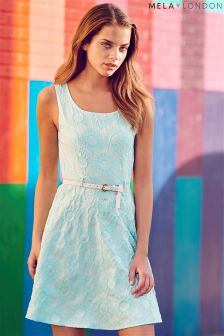 Mela Geo Belted Skater Dress