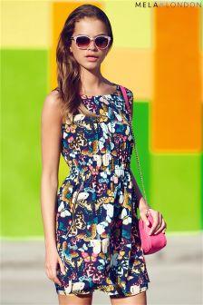 Mela Butterfly Print Zip Detail Dress