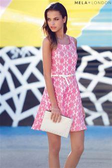 Mela Geo Floral Print Belted Skater Dress