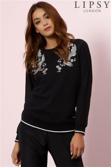 Lipsy Soft Woven Embroidered Sweatshirt
