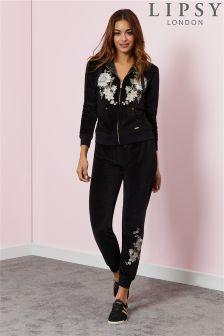 Lipsy Velour Embroidered Cuff Joggers