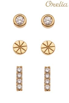 Orelia Mixed Crystal Stud 3 Pack