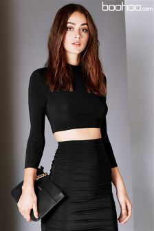 Boohoo Co-ord Suvi Rouched Sleeve Top