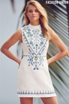 Fashion Union Sleeveless Embroidered Dress