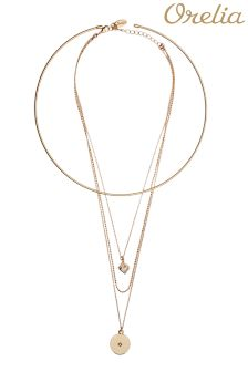 Orelia Fine Torque And Cube Multi Row Necklace