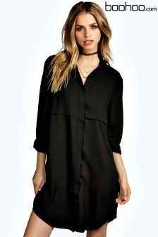Boohoo Double Placket Woven Shirt Dress