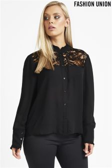 Fashion Union Curve Lace Shirt