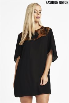 Fashion Union Curve Embroidered Floral Tunic Dress