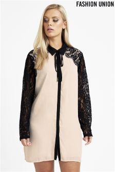 Fashion Union Curve Lace Overlay Detail Tie Neck Oversized Shirt