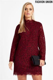 Fashion Union Curve High Neck Lace Dress