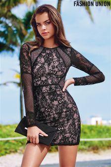 Fashion Union Lace Mesh Dress