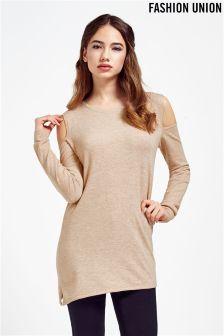 Fashion Union Aysmmetric Cold Shoulder Jumper