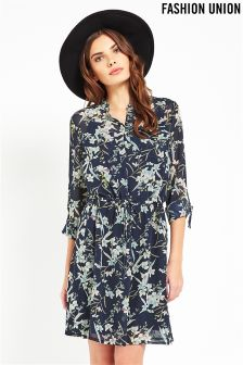 Fashion Union Print Midi Shirt Dress