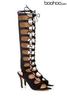 Boohoo Lace Up Ghillie High Heel Sandals