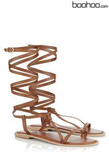 Boohoo Real Leather Peep Toe Sandals