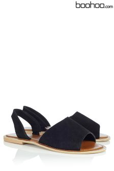 Boohoo Real Leather Peep Toe Sandals