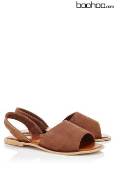 Boohoo 2 Part Peep Toe Suede Sandals