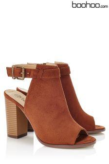 Boohoo Peeptoe Openback Shoe Boot