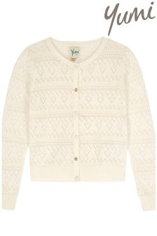 Yumi Girl Lurex Pointelle Cardigan