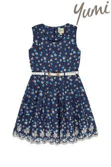 Yumi Girl Ditsy Floral Broderie Hem Dress