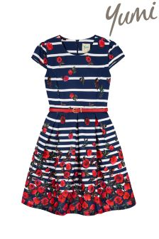 Yumi Girl Stripe Floral Fit And Flare Dress