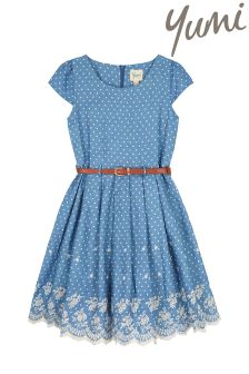 Yumi Girl Chambray Spot Broderie Hem Dress