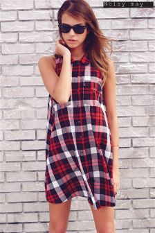 Noisy May Sleeveless Check Shirt Dress