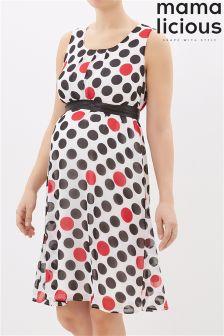 Mamalicious Maternity Polkadot Print Dress