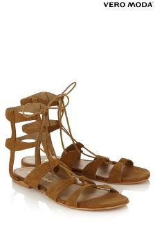 Vero Moda Flat Leather Ghillie Sandals