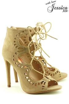 Jessica Wright Lace Up Laser Cut Heeled Sandals