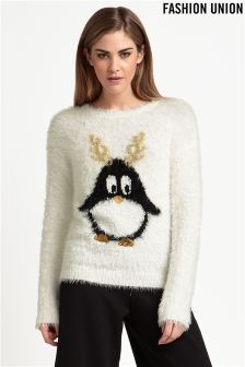 Fashion Union Penguin Christmas Jumper