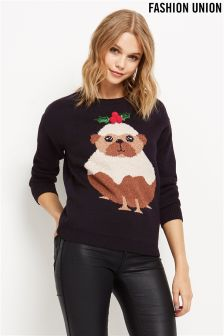 Fashion Union Christmas Pudding Pug Jumper