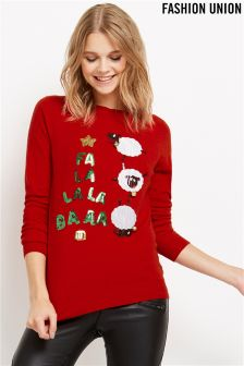 Fashion Union Novelty Sheep Christmas Jumper
